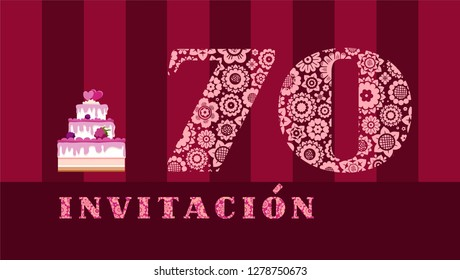 """Color card with the number 70 on the Burgundy striped field. The inscription in Spanish """"invitation"""". Invitation to the anniversary, birthday, holiday."""