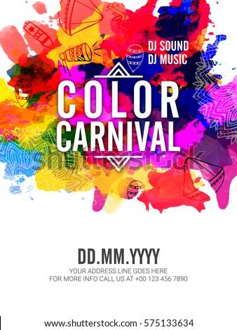 color carnival watercolor splash holi background stock vector