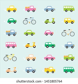 color cars and vehicles drawing set