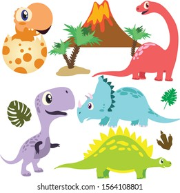 Color Cartoon dinosaurs collection vectrot illustration isolated o white background with volcano and palm . Cute hand drawn funny Dino icon set .