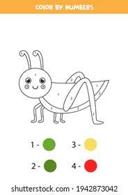 Color the cartoon grasshopper by numbers. Coloring page for kids.