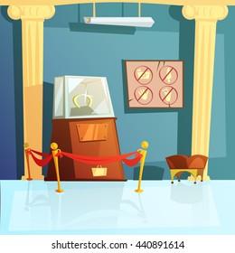 Color cartoon illustration depicting mascot of horseshoe in museum showcase vector illustration