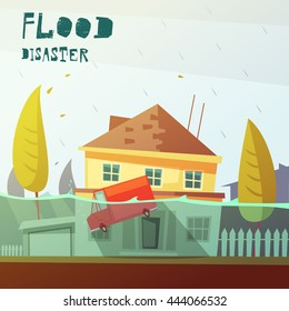Color cartoon illustration flood disaster depicting underwater vehicle  and flooded house vector illustration