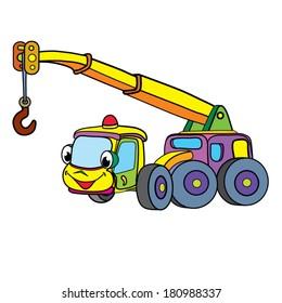 Color cartoon of merry crane-car.