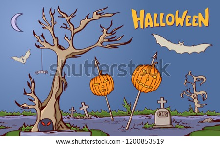 Color Cartoon Shapes On Halloween Theme Landscape Of Graveyard With Pumpkins Impaled On Spears