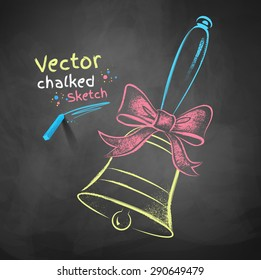 Color chalk drawn vector illustration of school bell with a bow on black chalkboard background.