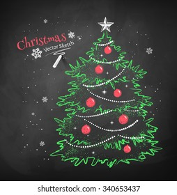 Color Chalk Vector Sketch Of Christmas Tree Decorated With Balls Garlands And Star On Black