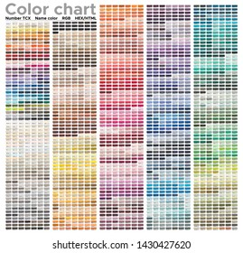 Color chart of the Fashion, Home and Interiors colors. Color palette with number, named color swatches, chart conform to pantone RGB, HTML and HEX description. Test page for print on cotton.