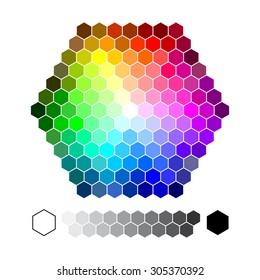 Color chart hexagon vector