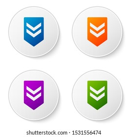 Color Chevron icon isolated on white background. Military badge sign. Set icons in circle buttons. Vector Illustration