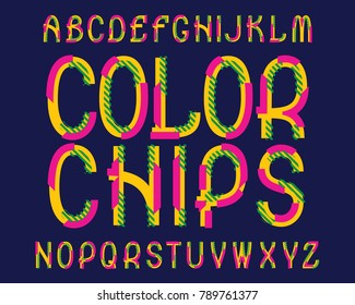 Color Chips typeface. Colorful font. Isolated english alphabet.