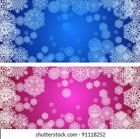 color christmas banners with snowflakes, vector illustration