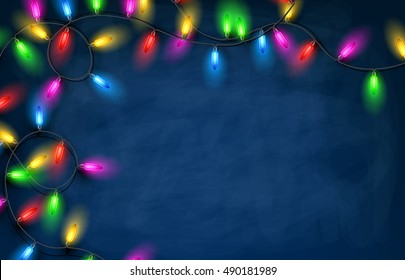 Color Christmas garland of lights on blue background. Vector illustration.