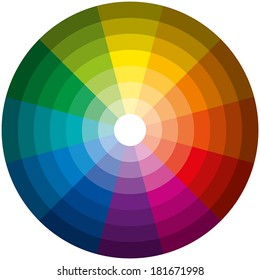 Color Circle Light Dark - Twelve basic colors in a circle, graduated from the brightest to the darkest gradation. Isolated vectors on white background.