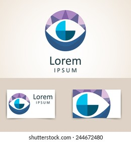 Color circle logo template. Abstract sign, symbol. Icon design element  in  form of eye with business card template.