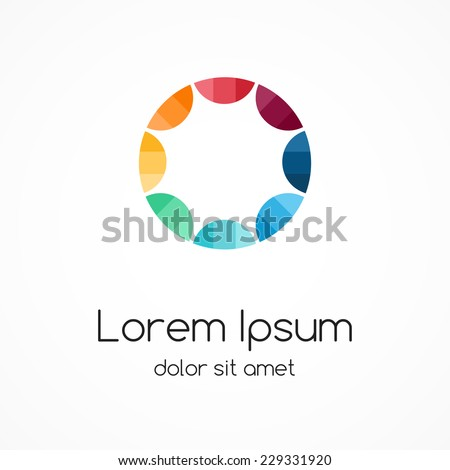 Color circle logo template. Abstract sign, symbol. Design element with 8 steps.