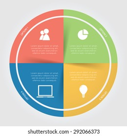 Color circular Chart Infographic. Template for diagram, graph, presentation and chart.Business concept with 4 options, parts, steps or processes on the white background.