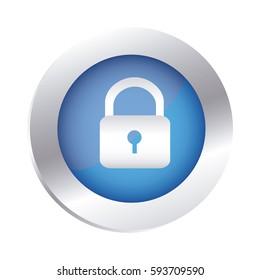 color circular emblem with padlock icon vector illustration