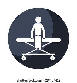color circular frame shading with pictogram patient sit in stretcher clinical vector illustration