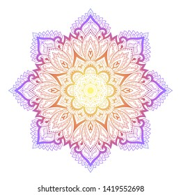 Color circular pattern in form of mandala with flower for decoration or print. Decorative ornament in ethnic oriental style. Rainbow design on white background.