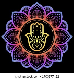 """Color Circular pattern in form of mandala with ancient hand drawn symbol Hamsa for decoration. Decorative ornament in oriental style. Rainbow design on black background. """"Hand of Fatima""""."""