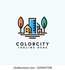 color city logo design template ilustration abstrack