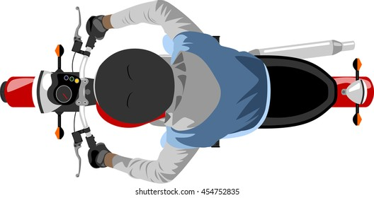 color classic motorcycle with rider wearing sleeveless jacket, hoodie and helmet top view
