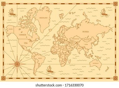 Color Classic Style of World Map with Thin Lines Elements for Web and App Design. Vector illustration