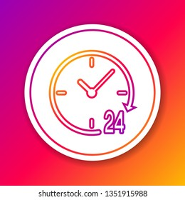 Color Clock 24 hours line icon isolated on color background. All day cyclic icon. 24 hours service symbol. Circle white button. Vector Illustration
