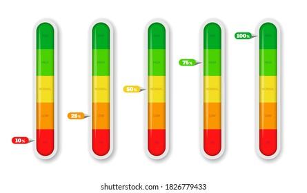Color coded progress, level indicator with units. Vector illustartion
