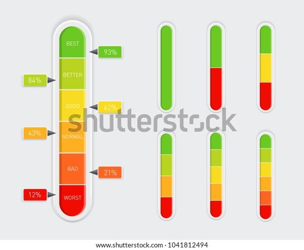 Color coded progress, vertical level indicator with percentage units. Vector illustartion