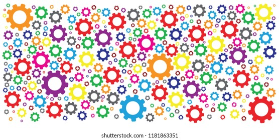 color cogwheel gear mechanism Service icon gears cogs cog settings setting signs pictogam fun funny concepts for business analysis planning consulting team work project management financial report