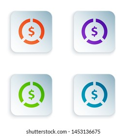 Color Coin money with dollar symbol icon isolated on white background. Banking currency sign. Cash symbol. Set icons in colorful square buttons. Vector Illustration