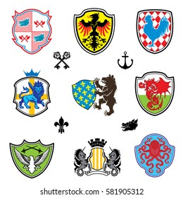 Color collection heraldry emblem.Nine various colorful coat of arms, with animals,nautical and medieval armor and weapons and four black elements.