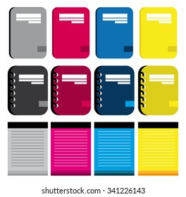 Color Collection Of Notebooks Icons