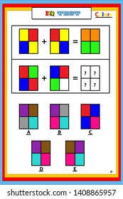 Color combination,Worksheet with exercises for children.Educational for coloring page.