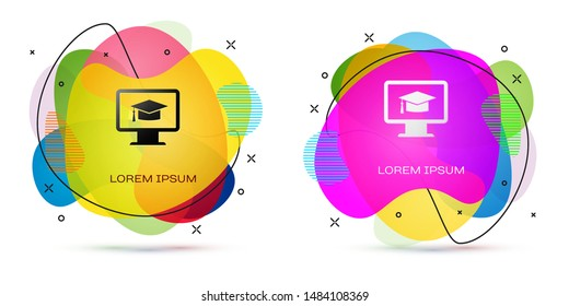 Color Computer monitor with graduation cap icon isolated on white background. Online learning or e-learning concept. Internet knowledge symbol. Abstract banner with liquid shapes. Vector Illustration