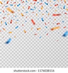 Color confetti. Falling confetti ribbons isolated. Party celebration, carnival surprise and fiesta vector background. Birthday festival confetti, festive ribbon serpentine illustration