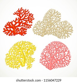 Color corals sea life objects set isolated on white background
