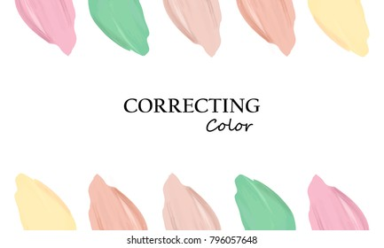 Makeup Tutorial How Use Color Correcting Stock Vector Royalty Free