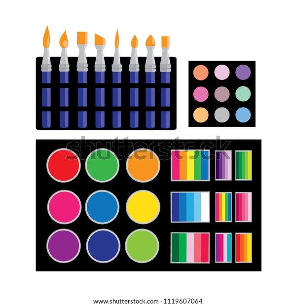Color Cosmetics Brushes Face Painting Body Stock Vector