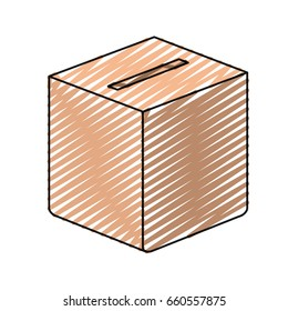 color crayon silhouette carboard box with slot vector illustration