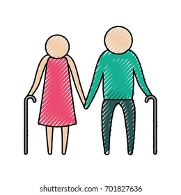 color crayon silhouette of pictogram elderly couple with walking sticks in clothes vector illustration