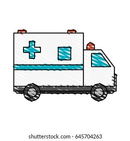 color crayon stripe cartoon ambulance truck with cross symbol