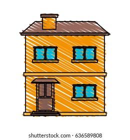 color crayon stripe cartoon facade comfortable house with two floors