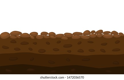 Color Cross Section of Brown Ground . Vector illustration of Slice