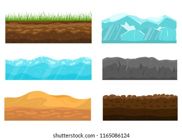 Color Cross Section of Ground Set Include of Soil, Grass, Rock, Turf and Desert. Vector illustration of Slice