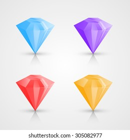 Color crystals set, crystal icons, crystals on a white background. Vector illustration