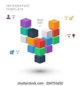 Color cubes info graphic template for presentation on white background.