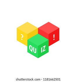 color cubes like quiz icon. concept of quizz time game entertainment and examination button. flat simple style trend modern graphic design art element isolated on white background